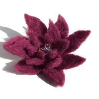 Lotus flower hand felted plum purple pin hair by HeartFeltbyAndrea