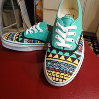Hand Painted Aztec Vans MADE TO ORDER by 816Creations on Etsy