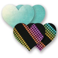 Amazon.com: Nippies Black Rainbow Metallic Turquoise Green Heart Waterproof Self Adhesive Fabric Nipple Cover Pasties Size C: Clothing