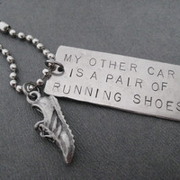 Running Key Chain - My Other Car is a Pair of Running Shoes - Key Chain / Bag Tag - Choose Ball Chain or Key Ring