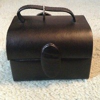 Jewelry Box Genuine Leather Small Black With Mirror Brand New