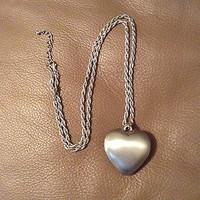 Necklace With Silver Chain and Silver Heart 14in