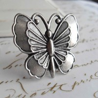 Sweet Silver Butterfly Ring by labellemoon on Etsy