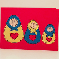 Greeting Cards - Note Cards Pack of 6 - Three Russian Doll Greeting Card 6 Pack - Matryoshka Dolls