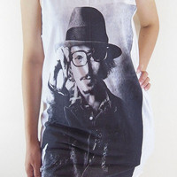 Johnny Depp Shirt -- Johnny Depp T-Shirt Depp Shirt Women Tank Top Tunic Singlet Vest Sleeveless White Shirt Size M