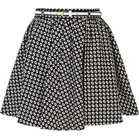 Black and white geometric print skater skirt