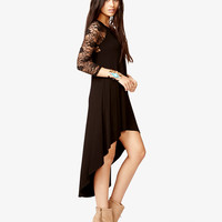 Lace Trimmed High-Low Dress