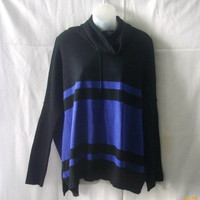 Les Temps des Cerises long-sleeved cowl-neck sweater in black & periwinkle blue