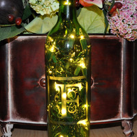 Monogram Etched Lighted Wine Bottle Lamp  Custom by TipsyGLOWs