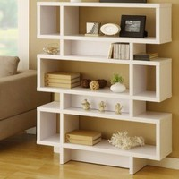 Celio Three-Tier Bookcase / Display Cabinet in Matte White: Furniture &amp; Decor