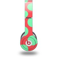Kearas Polka Dots Green On Salmon Decal Style Skin (fits Beats Solo HD Headphones