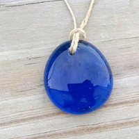 Cobalt   Blue Necklace Glass Drop