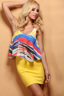 YELLOW MULTI OVERLAY PRINTED CHIFFON SEXY DRESS @ Amiclubwear sexy dresses,sexy dress,prom dress,summer dress,spring dress,prom gowns,teens dresses,sexy party wear,women's cocktail dresses,ball dresses,sun dresses,trendy dresses,sweater dresses,teen cloth