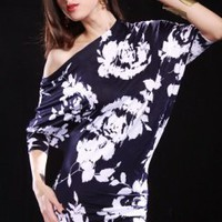 NAVY WHITE CRINKLE SPLATTER FLORAL PRINT ASYMMETRICAL MINI DRESS @ Amiclubwear sexy dresses,sexy dress,prom dress,summer dress,spring dress,prom gowns,teens dresses,sexy party wear,women's cocktail dresses,ball dresses,sun dresses,trendy dresses,sweater d