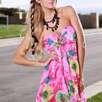 PINK MULTI STRAPLESS GEMSTONE DECOR FLORAL CHIFFON DRESS