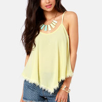 Take a Chance Pale Yellow Lace Tank Top