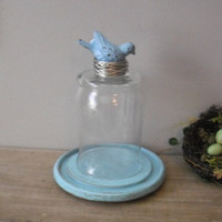 Upcycled Blue Bird on her Nest ... cloche dome ... rustic painted wooden under plate Rustic farm house display