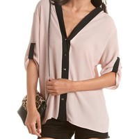 Pyramid Stud Button-Down Blouse: Charlotte Russe