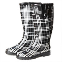 puddle jumping rainboots in plaid