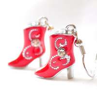 Red cowboy boot earrings by JooniebeadsTreasures on Etsy