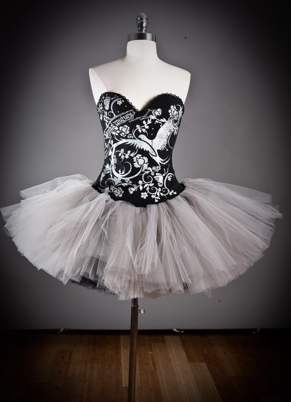 Size Medium Silver and black Burlesque Corset tutu by Glamtastik