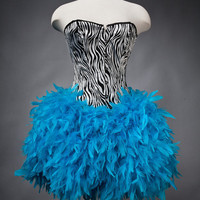 Custom Size Zebra corset with full Turquoise feather by Glamtastik
