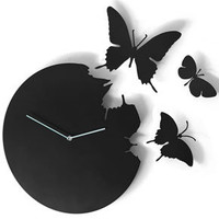 Butterfly Clock Black