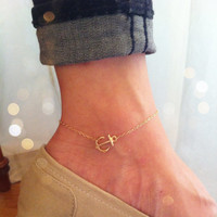 Sideways anchor anklet 14K gold filled chain by Lookatmeshop