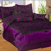 Amazon.com: NEW 7PC FAUX SILK FLOCKING PURPLE BLACK ZEBRA PRINT QUEEN SIZE COMFORTER SET: Home & Kitchen