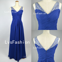 A Line Straps Beading Chiffon Royal Blue Prom Dresses, Evening Dresses Evening Gown, Bridesmaid Dress, Party Dress