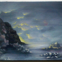 sun down oregon coast landscape seascape painting by printeranji