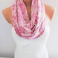 Infinity Scarf Loop Scarf Circle Scarf Pink Coton Jersey Scarf Cowl Scarf