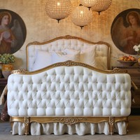 Eloquence Sophia Upholstered Tufted Antique Gold Bed