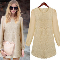 Ivory Embroidery Lace Body Chiffon Sleeves Shift Dress from Merlow Avenue