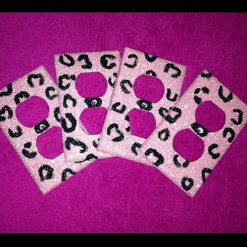 Set of 4 Glitter Cheetah Print Outlet by MelaniesGlittermania