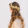 Gold Bridal Fascinator, Beaded Leaf Headband, Grecian Bridal Hair Piece, Tiara, Halo, Crown, Wedding Headpiece, Cleo Ships in 1 Month
