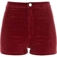 Red corduroy high waisted shorts