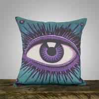 Eye Pillow Cover, Teal and Amethyst, Decorative Throw Pillow, Purple and Blue, Celestial, Zodiac, Conceptual, 16""