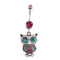 Morbid Metals 14G Magenta Turquoise Owl Navel Barbell - 151677