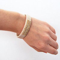 Cuff bracelet with gold rhinestones, beige cotton yarn, recycled cardboard