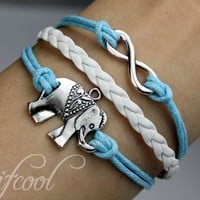 infinity&elephant bracelet-infinity bracelet-elephant bracelet-wax cords and imitation leather bracelet,gift bracelet