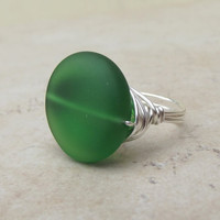 Emerald Sea Glass Ring:  Silver Wire Wrapped Beach Jewelry, Dark Green, Size 8