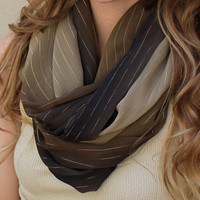 Ombre Scarf, Infinity Scarf, Circle Scarf, Eternity Scarf, Brown, Tan