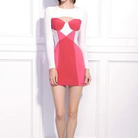 Starry Splicing mixed colors Slim Dress pink