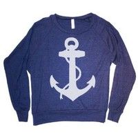 Amazon.com: Happy Family Nautical Anchor American Apparel Womens (Juniors) Long Sleeve Raglan Sweatshirt (Small, Navy): Clothing