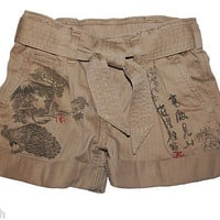 NWT Ralph Lauren Girls Tatoo Printed Chino Khaki Belt Shorts
