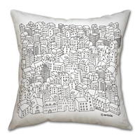 Pillow cushion  -Metropolis-  in black and white print on a gabardine decorative (insert included)