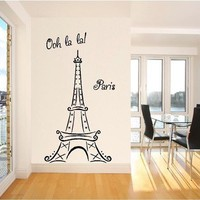 Eiffel Tower Ooh La La Paris 6ft tall Wall Sayings Decal Vinyl Wall Art Words Vinyl Lettering