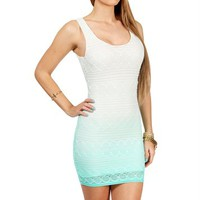 Ivory/Teal Crochet Tank Dress