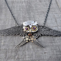 The &quot;Diving Gray Owl&quot; Clockpunk Steampunk Sculpture Pendant Necklace, Watch Movement &amp; Gears with Swarovski Crystals on Cable Link Chain